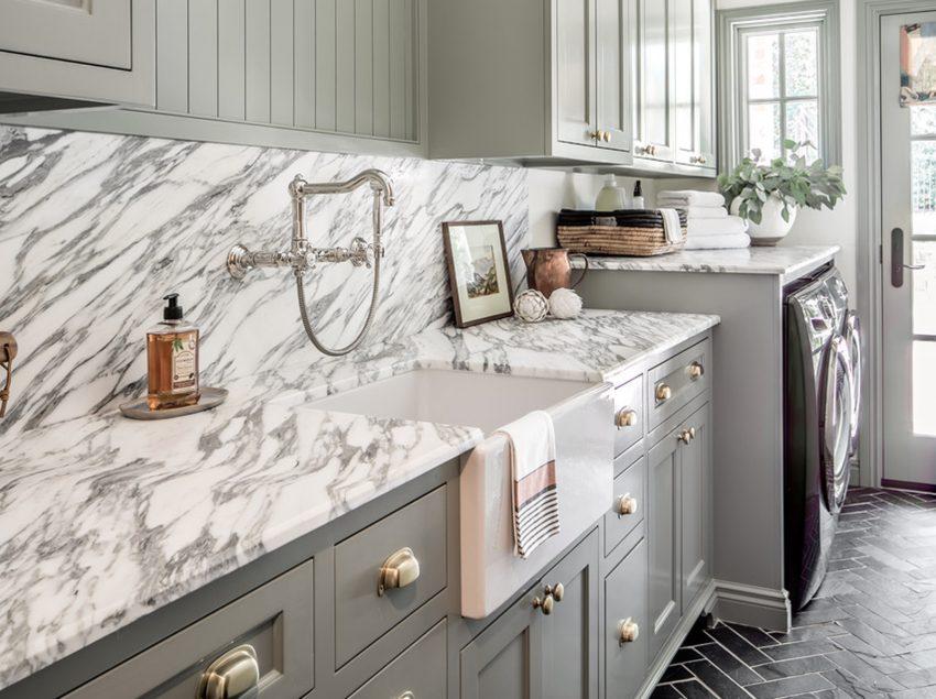 Nhà bếp bằng đá marble Arabescato Corchia
